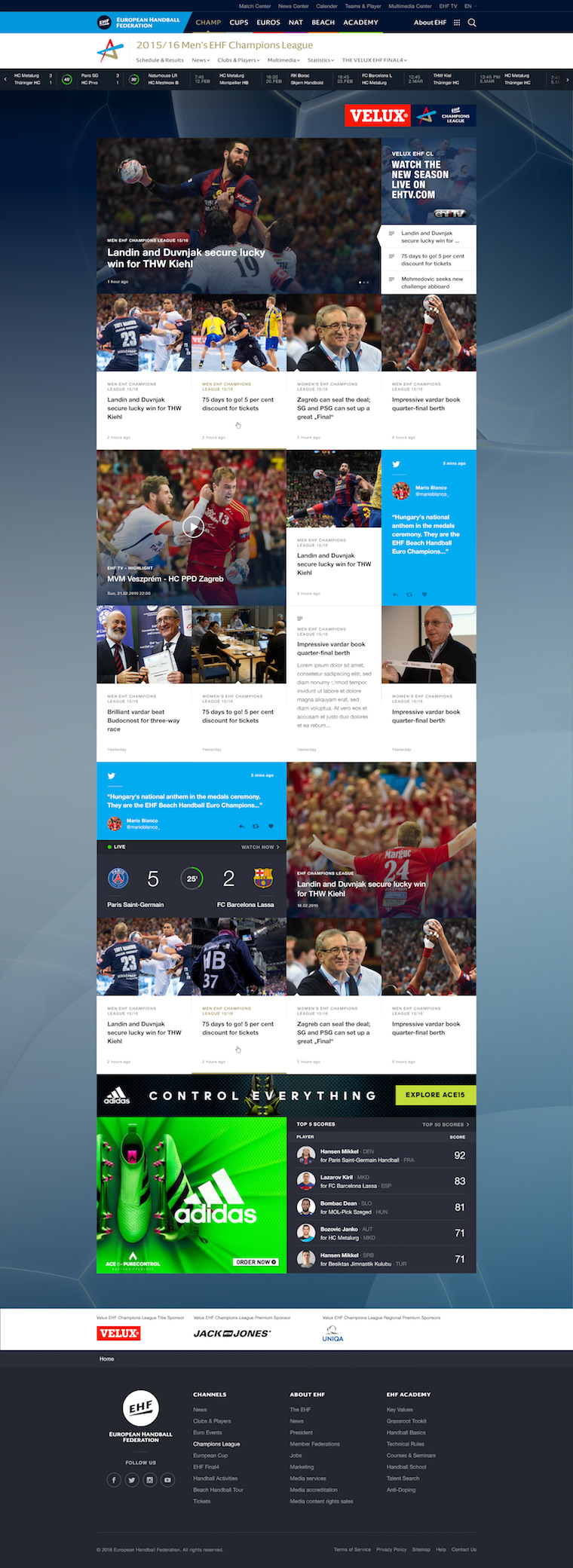 EHF European Handball Federation Website Design landingpage-pinnwand-champ