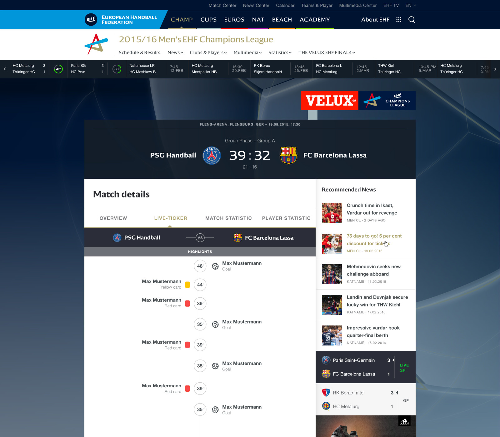 EHF European Handball Federation Website Design player profile matchdetails match-live-ticker