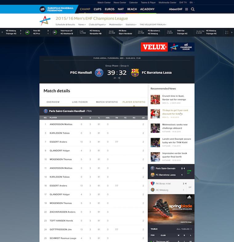 EHF European Handball Federation Website Design player profile matchdetails player statistic