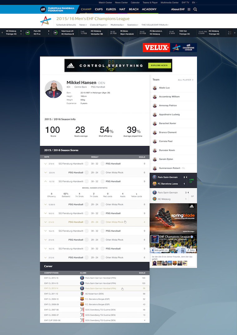 EHF European Handball Federation Website Design player profile information
