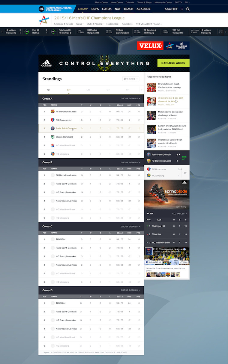 EHF European Handball Federation Website Design Standings