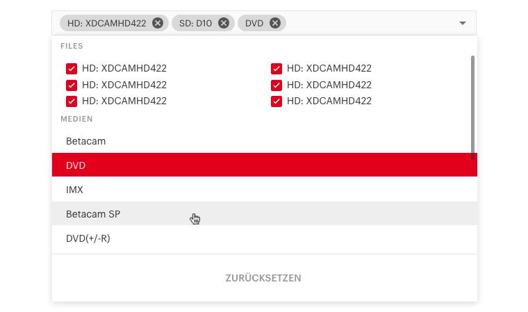 ORF Admin Dashboard Multiple Choice Selector Dropwdown