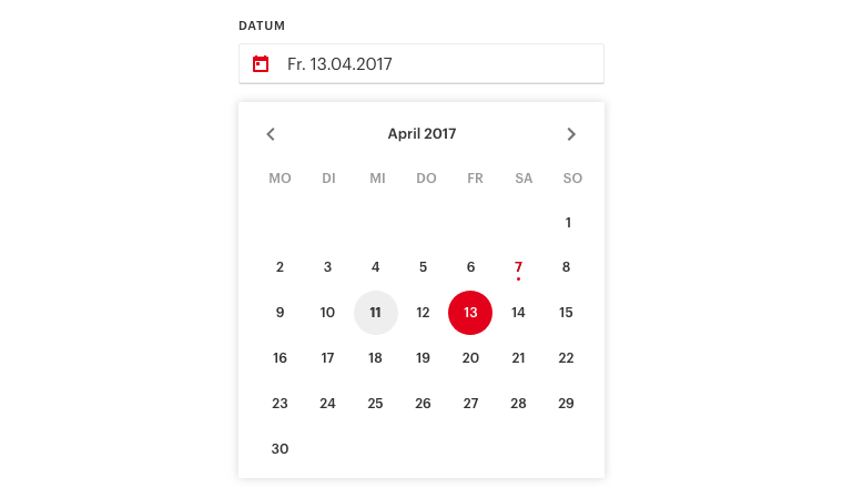 ORF Admin Dashboard datepicker material design