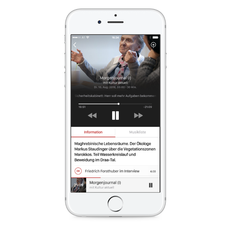 ORF Ö1 Radio iOS App Player