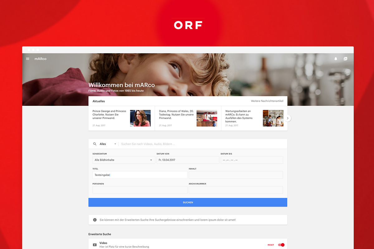 ORF Admin Dashboard Design by Feinblick Material Design
